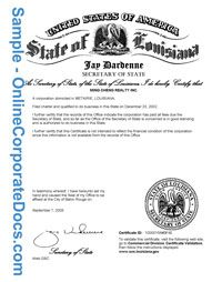 Get A Louisiana Certificate Of Good Standing For Small Business Kevin Gates Attachment Louisiana