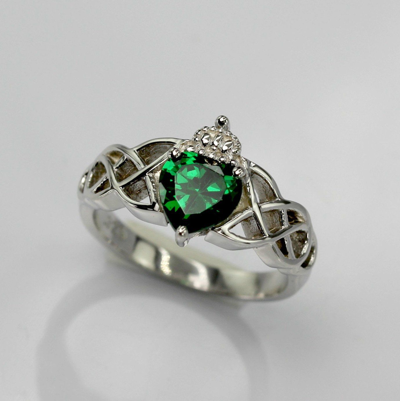 Celtic Double Knot Heart and Crown Engagement RingWedding