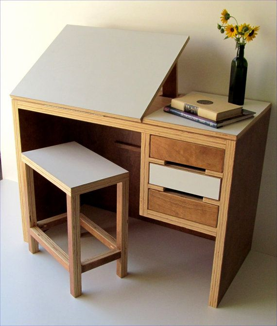 25 Cool Modular Home Office Furniture Designs: Modern Drawing Desk With Matching Stool By TheOffWhiteDog