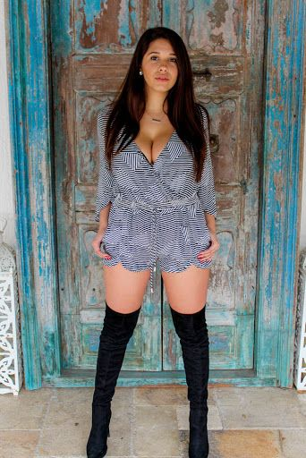 Stripped romper   Over the knee boots