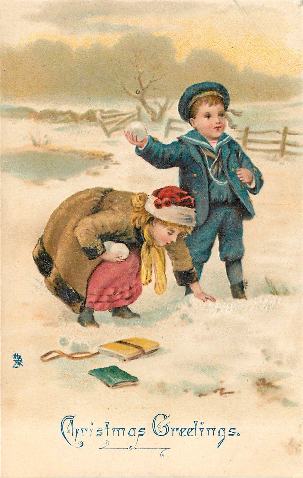 старинные открытки деток в зимней одежде