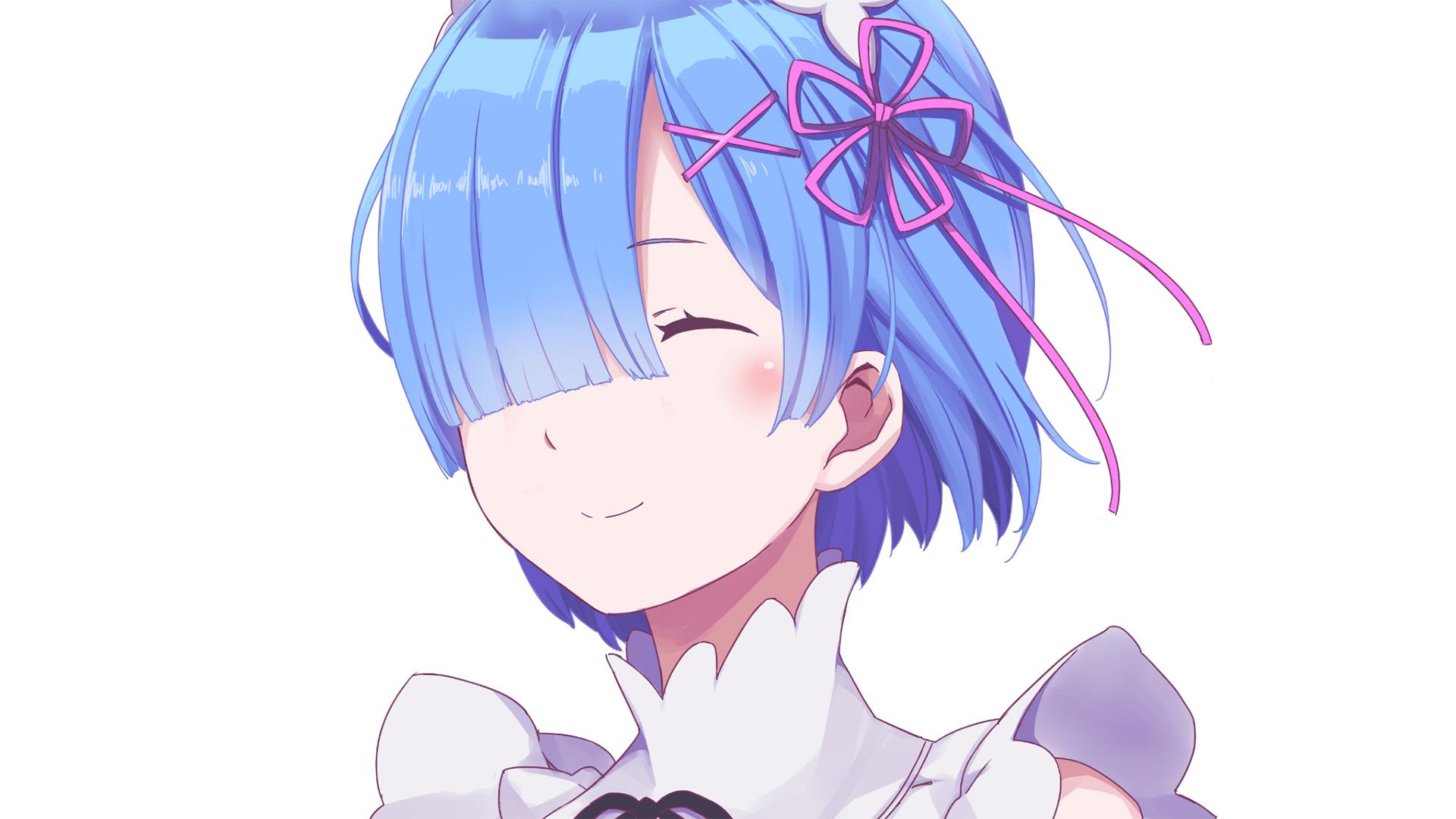 Re Zero Rem Smile Face Portrait Seni Anime Gadis Animasi Animasi