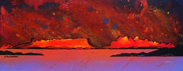 An original painting & prints of Sound of Sleat, Rum and Eigg, Scottish Western Isles. Original mixed media painting in acrylic paint, spray paint, oil paint and acrylic ink on box canvas. 76 x 30 x 4cm (REF: RRET7) A range of framed, unframed and mounted prints are available - See more at: http://www.scottishlandscapepainting.co.uk