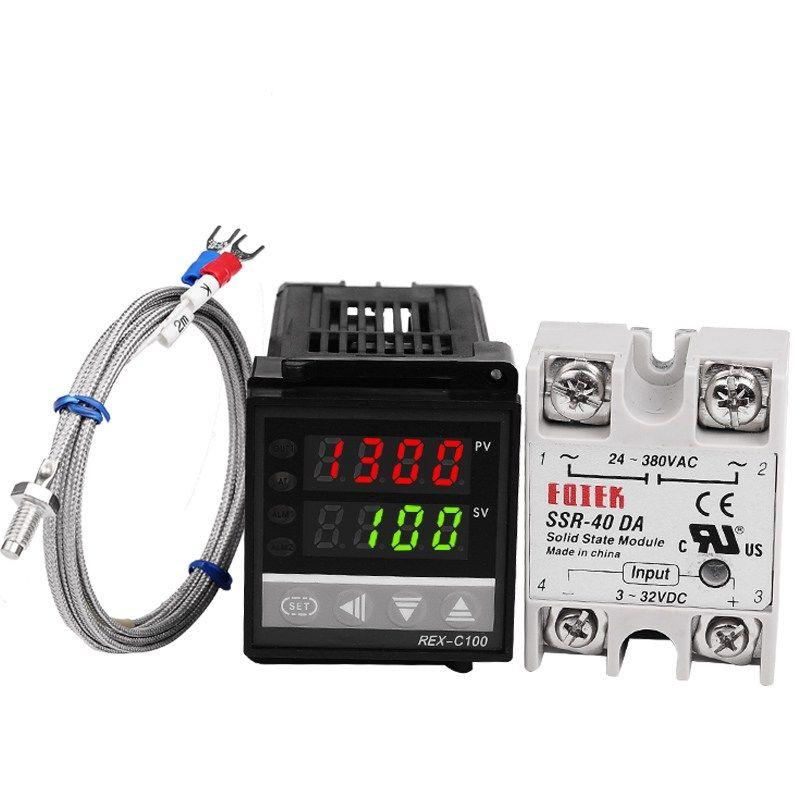 40A SSR Diret Digital 220V PID REX-C100 Temperature Controller K Thermocoupl