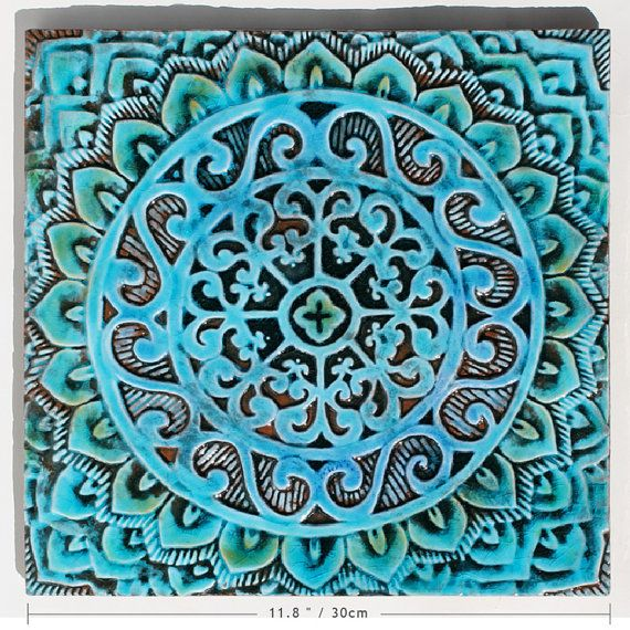 Mandala Wall Hanging Made From Ceramic Outdoor Wall Art Mandala Art Mandala Wall Hanging Garden Decor Ceramic Tile Mandala1 Turquoise Etsy Wall Art Exterior Wall Art Outdoor Wall Art