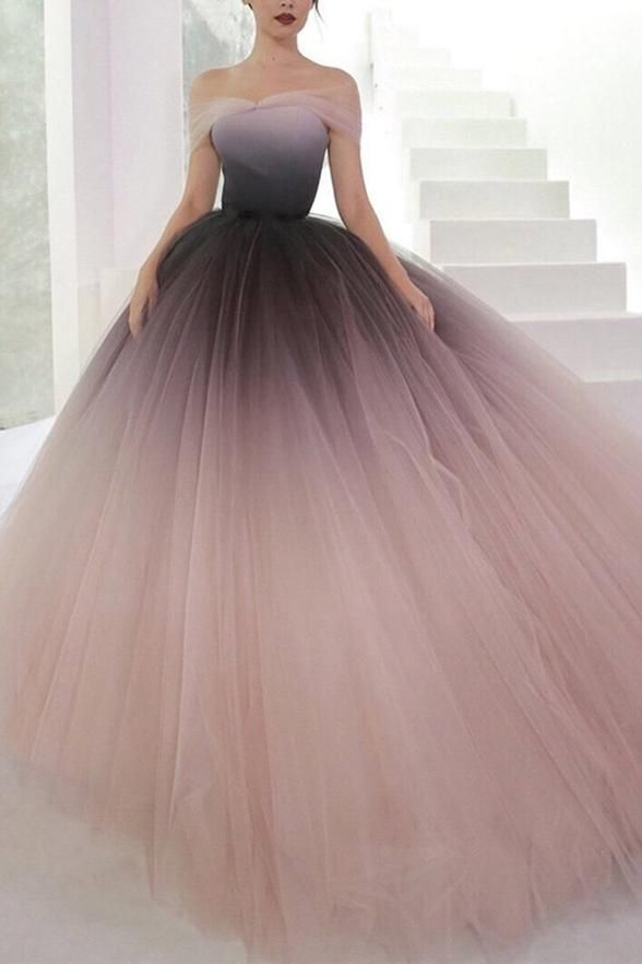 Gradient Tulle Off the Shoulder Long Prom Dresses Formal Ombre Ball Gown Evening Grad Dress L...