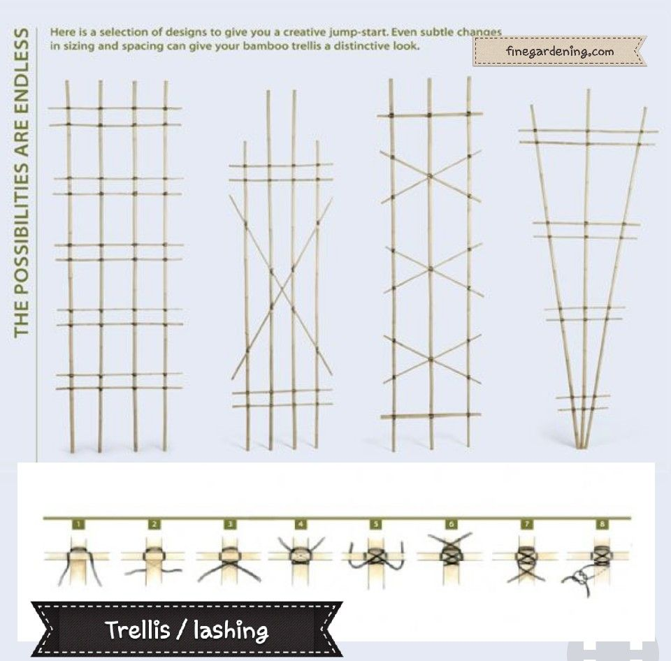 DIY bamboo trellis patterns with lashing how-to  | gardening