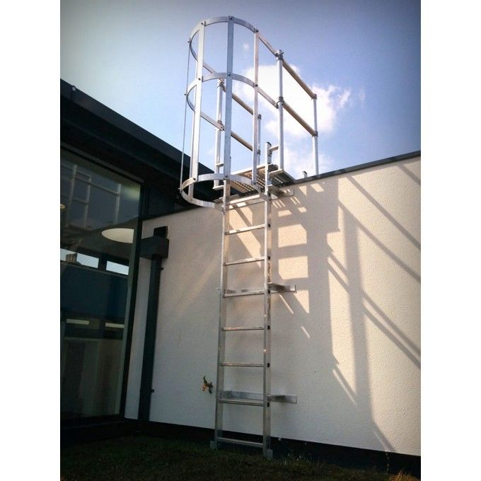 typically used to access roof areas or mezzanine floors where exterior access is required a tu0026i solutions ladder fitted with cage and walkthrough offers a