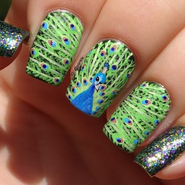 Wow!!! Wow!!! Fantastic!!! The best peacock nail design I have seen ...