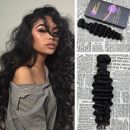 """Moresoo 12""""/30cm 100g/bundle Weave Hair Human Bundles Short Deep Wave Weave Bundles Unprocessed Remy Brazilian Virgin Hair Sew in Weave Hair Extensions Natural Black/#1B"""
