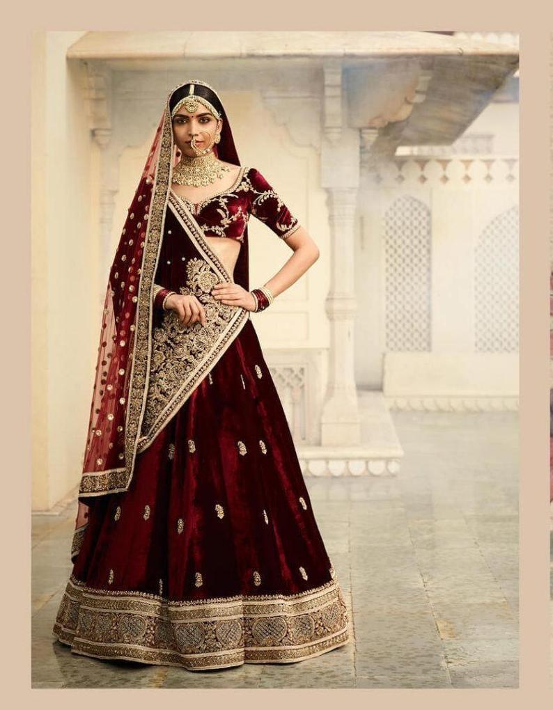 Sabyasachi Inspired Burgundy Color Wedding Lehenga Choli Etsy Bridal Lehenga Red Indian Bridal Outfits Indian Bridal Dress [ 1020 x 794 Pixel ]