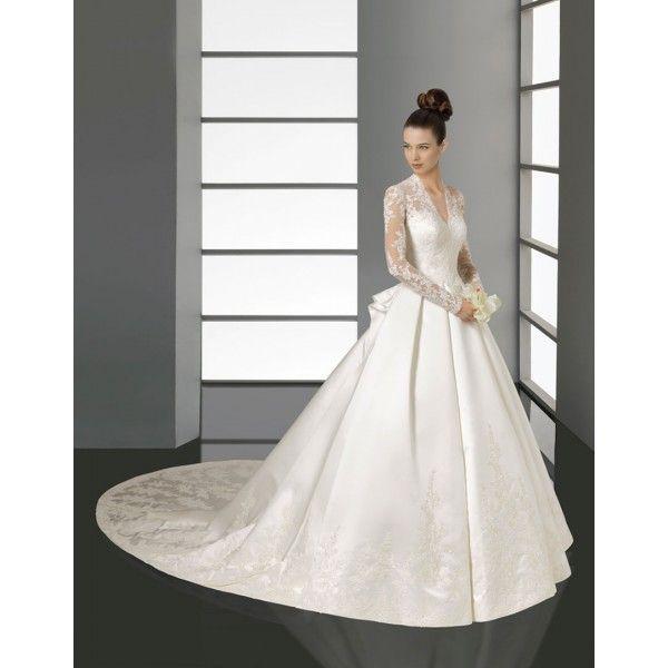 A-line Long Sleeves Lace Satin Wedding Dress - Star Bridal Apparel