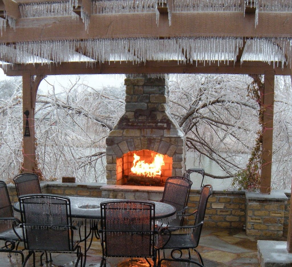 Stone fireplace designs and Wooden pergola