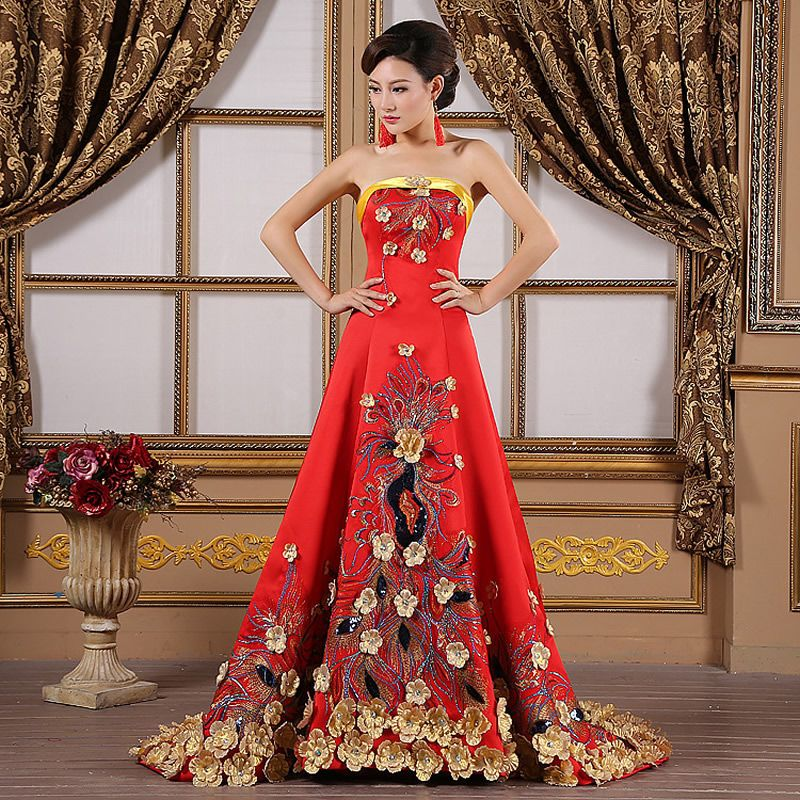 2016 luxury yellow flower embroidery evening gowns for Wedding dresses in china