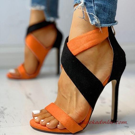 2020 Bayan Stiletto Ayakkabi Modelleri Siyah On Kisami Beyaz Bantli 2020 Stiletto Pembe Ayakkabi Topuklular