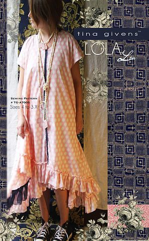 Tina Givens Annabelle Slip Dress w//Ruffle Hem sizes XS-2X Sewing Pattern # 3046