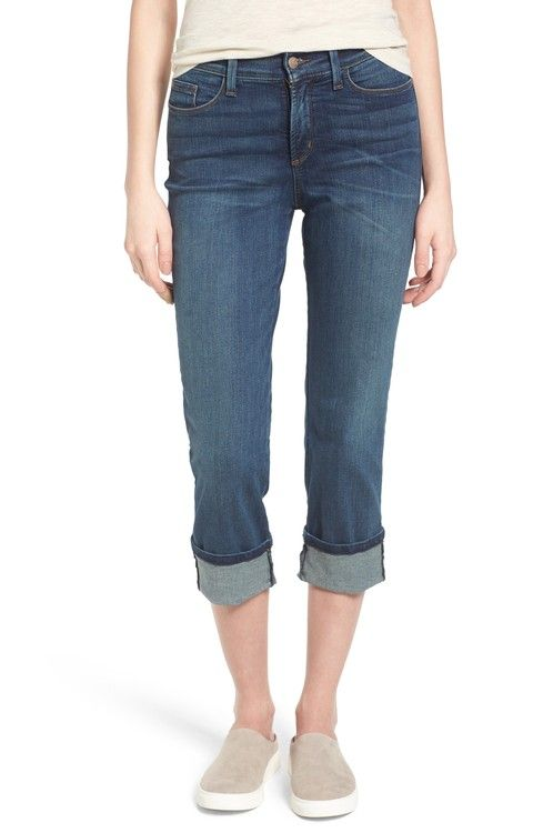 shoes for cheap on feet at exquisite style Main Image - NYDJ 'Dayla' Colored Wide Cuff Capri Jeans (Regular ...