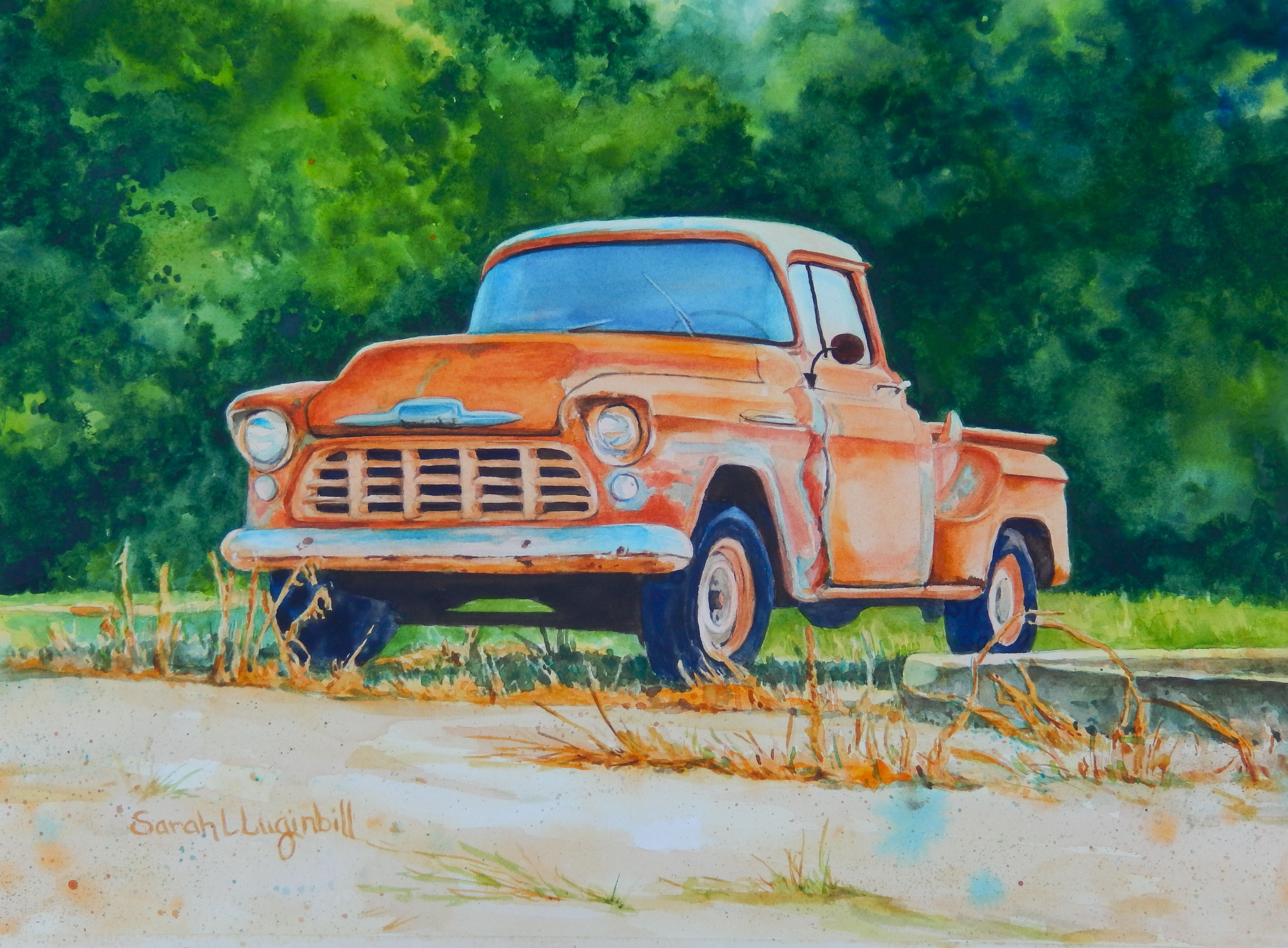 This watercolor painting of an old chevy truck titled backyard friend is for sale