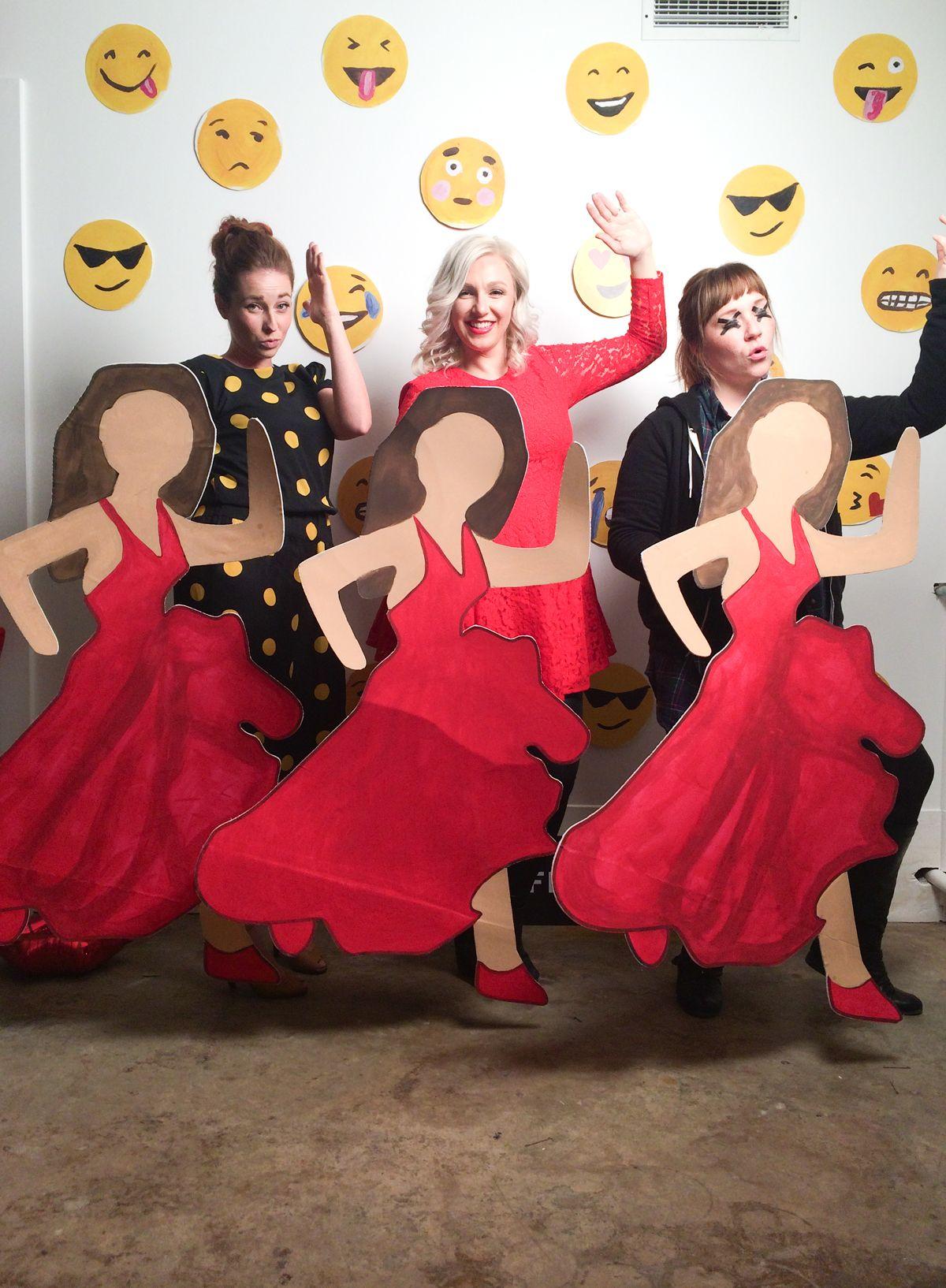 Red dress dancing emoji edits