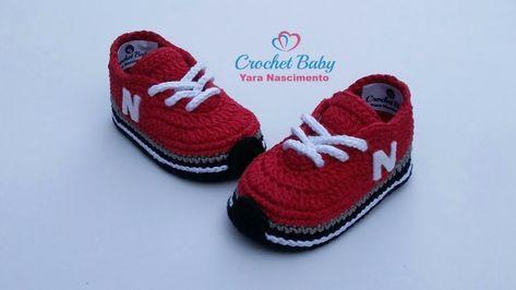 Tênis NEW BALANCE de crochê - Tamanho 09 cm - Crochet Baby Yara Nascimento - YouTube #crochetbabyshoes