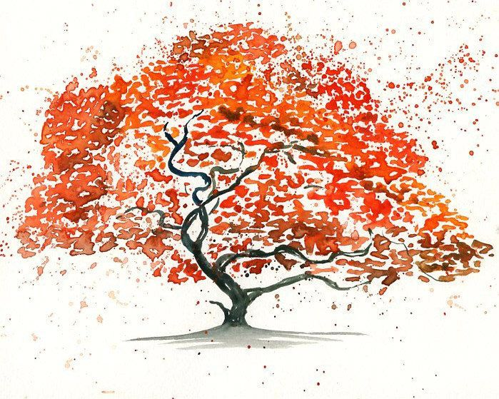 Japanese Maple Tree Landscape Painting Watercolor Orange Autumnal