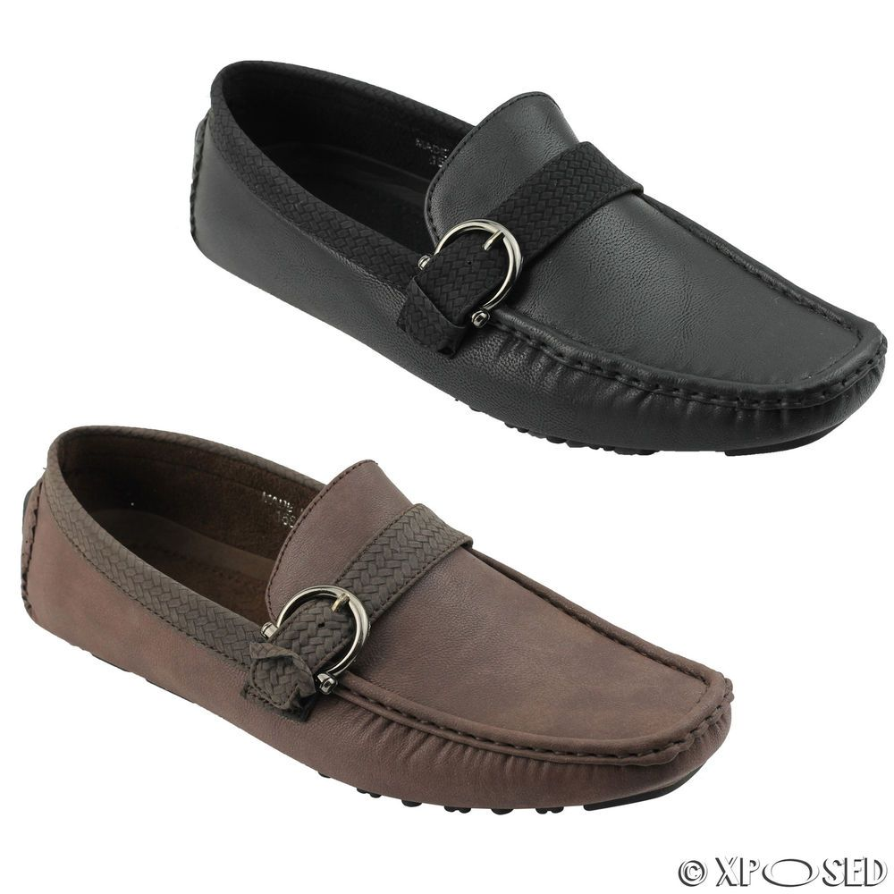 Xposed Mens Black Brown White Faux Leather Penny Loafer Smart Casual Moccasin Slip on Flat Driving Shoes