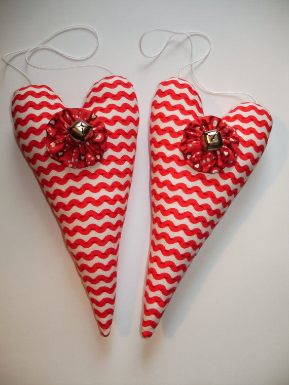 Pair of Red and White CandyStriped Heart by MyDisgustedCats, $13.00