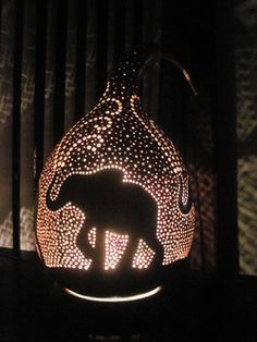 Prancing elephant gourd table lamp dremel Pinterest Gourds