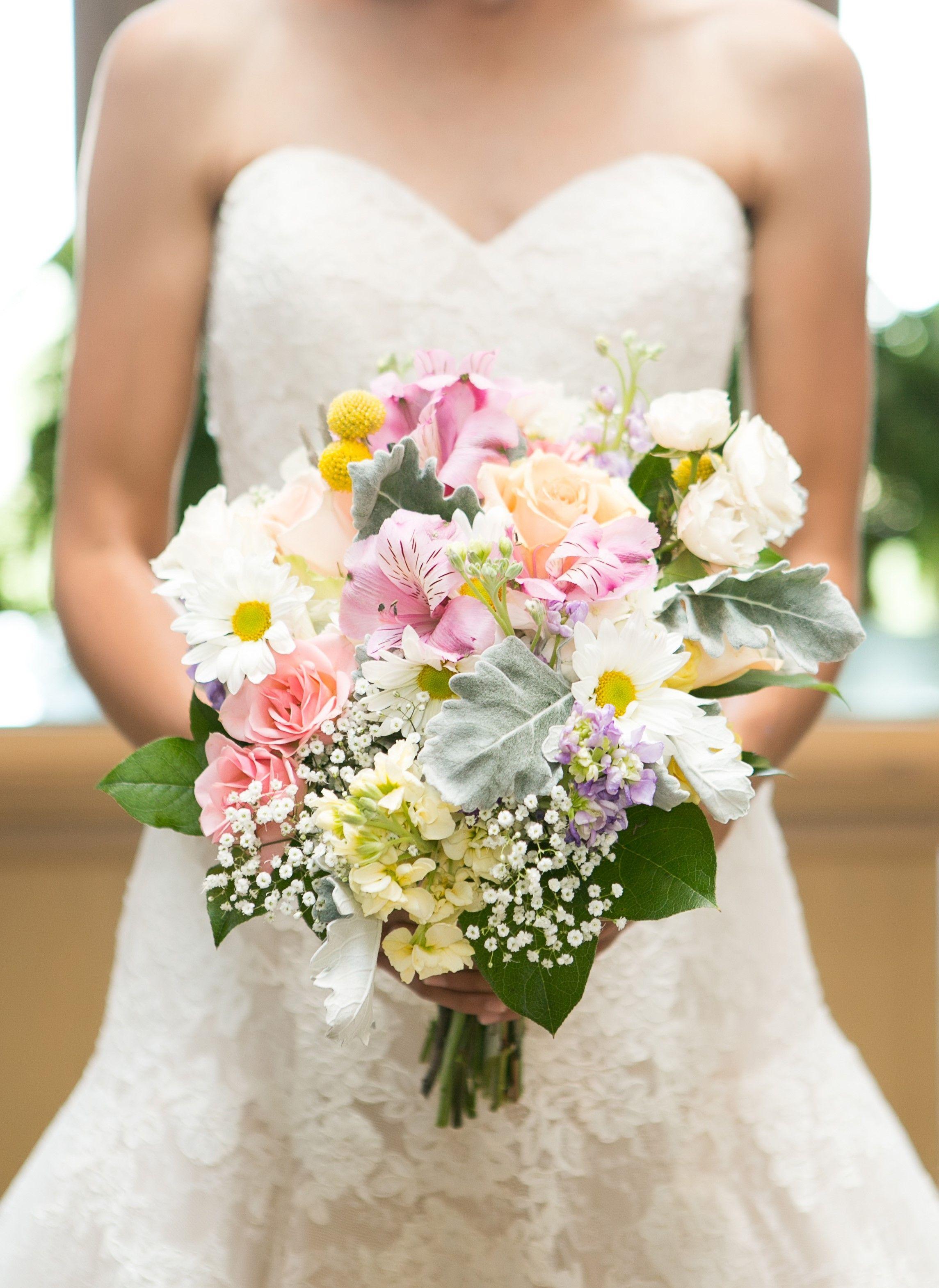 Summer Garden Bridal Bouquet With White Daisies Babies S Breath