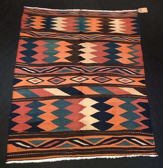 Vintage Persian Kilim, Varamin Flat Woven Kilim Rug, 5'2'' x 4'5'', (156 cm x 134 cm)