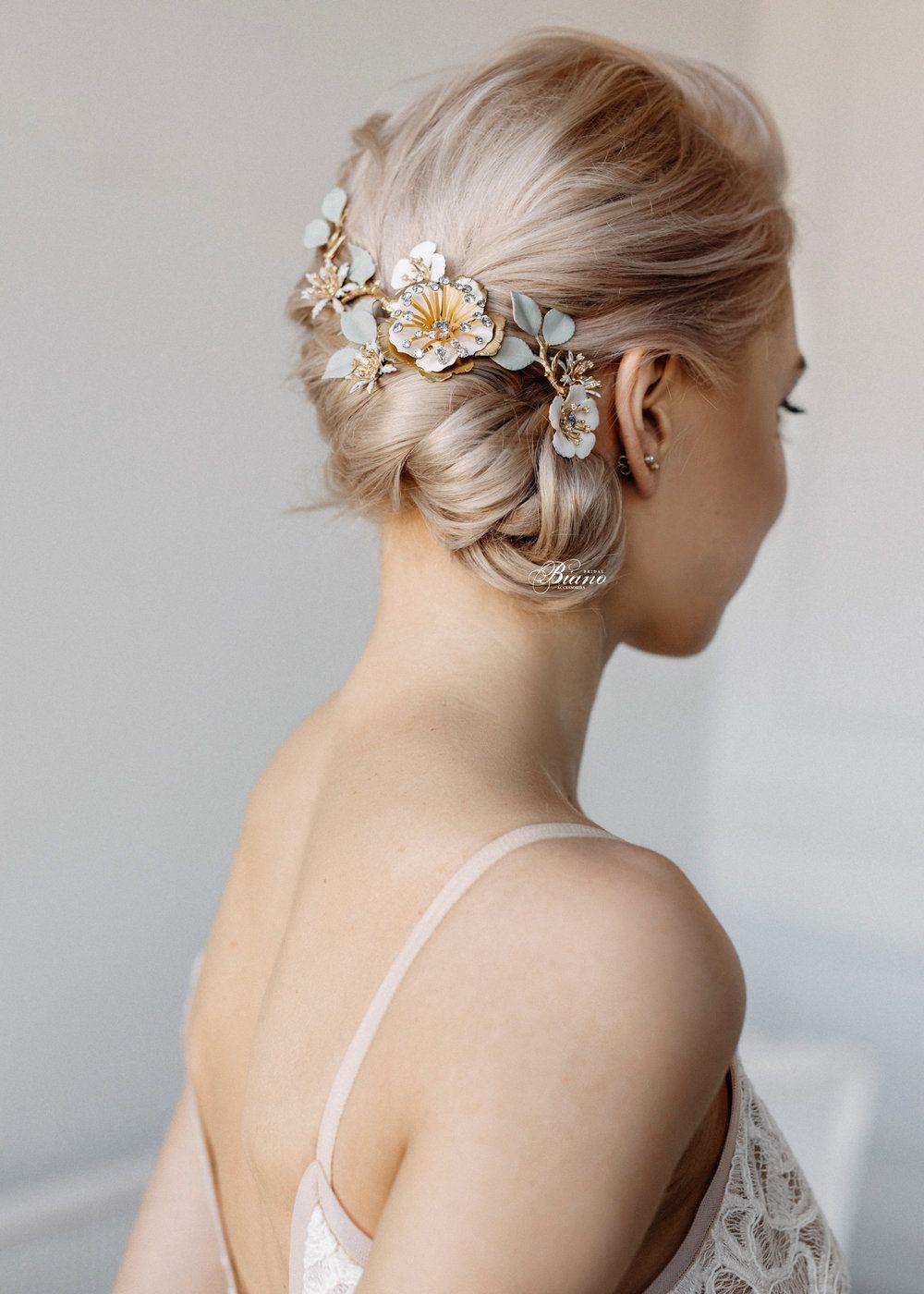 bridal hair comb flower, wedding hairstyles updo, bridal