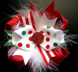 Christmas hair bow. Not much on the website, but good picture to try to duplicate.