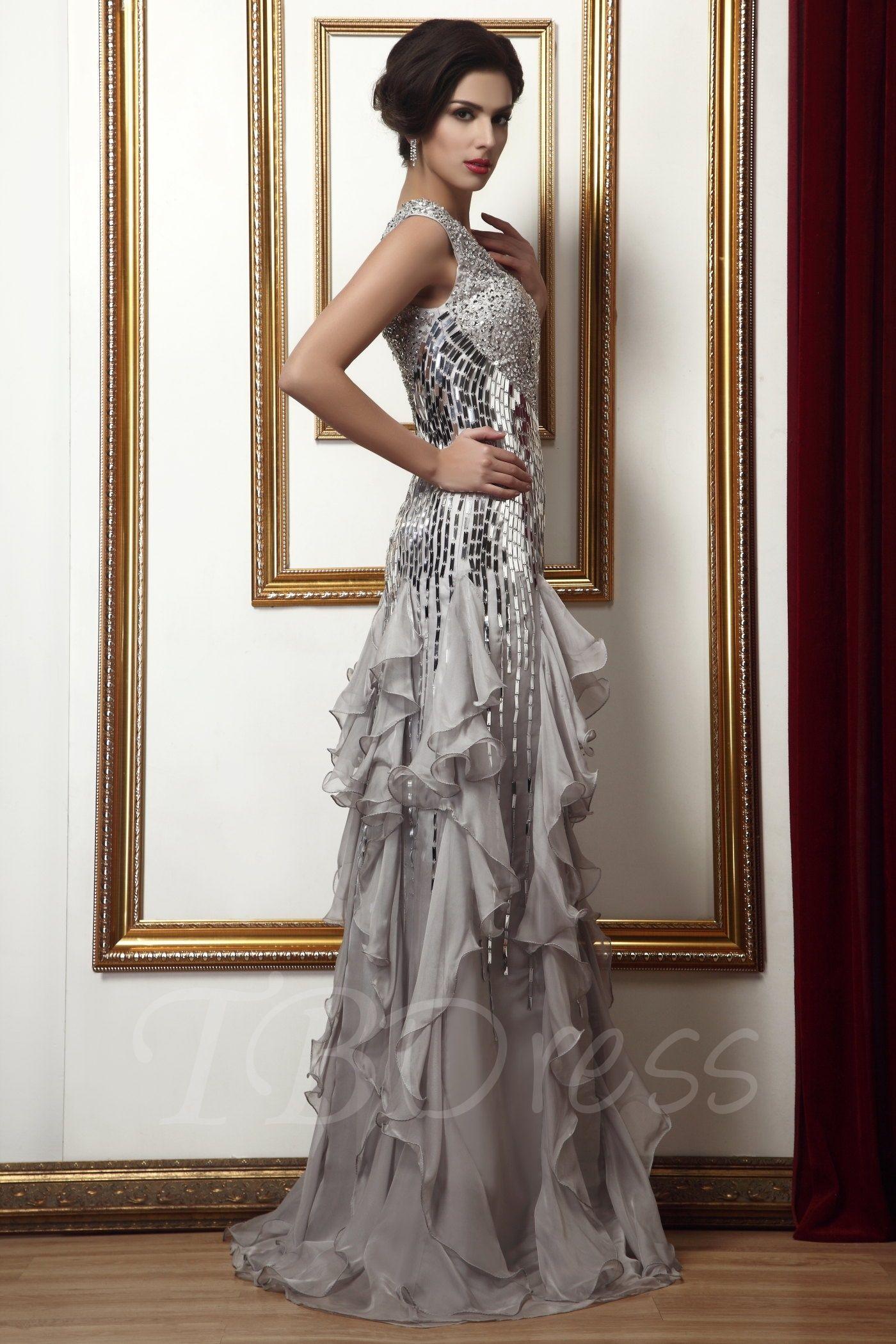 Beadingsequins ruffles sheathcolumn mother of the bride dress