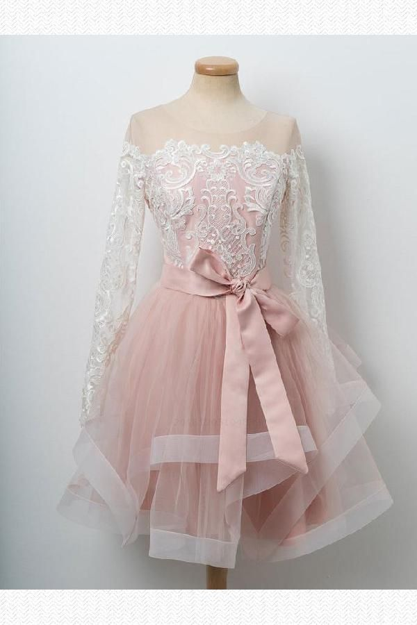 Splendid Homecoming Dress With Sleeves, Pink Homecoming Dress, A-Line Prom Dress, Cute Prom Dress