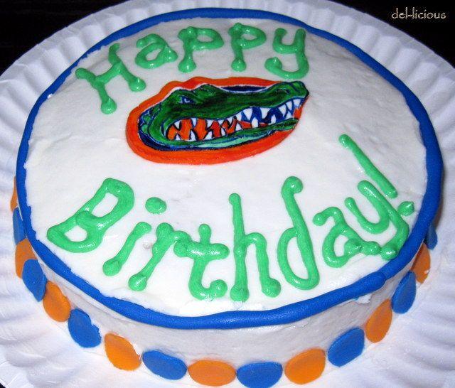 Gator Happy Birthday Cake Painted Gum Paste Logo Birthdays