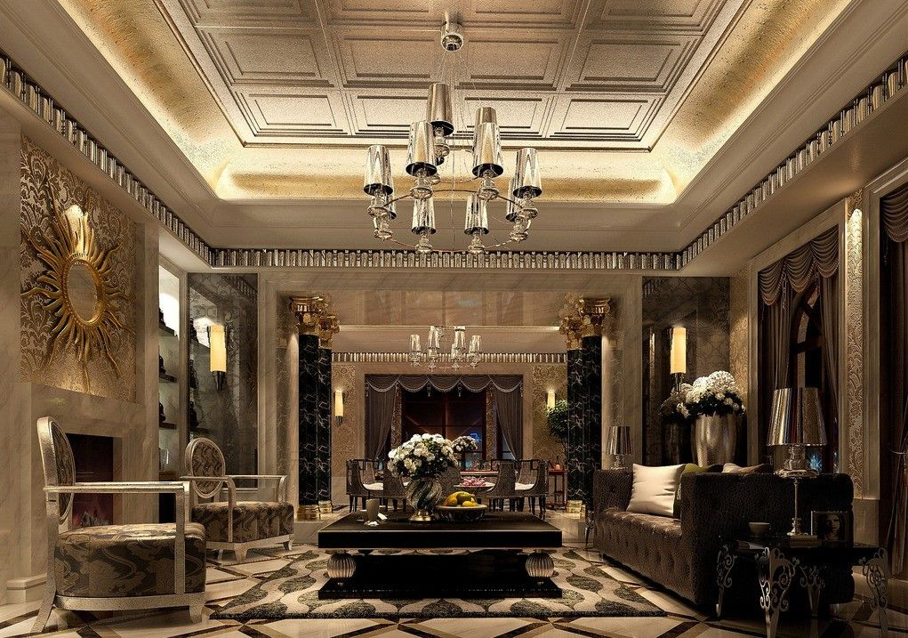 Luxury Living Room Design Ideas With Enticing Decor Inside: Neoclassical Style Living Room Interior Design With