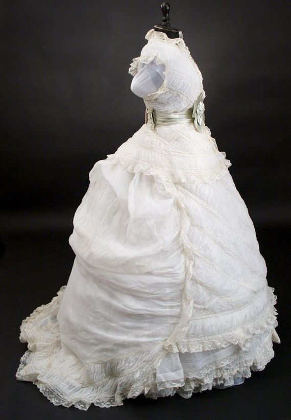 Rare 1800 S Vintage Victorian Lace Wedding Dress Gown By Tanja004
