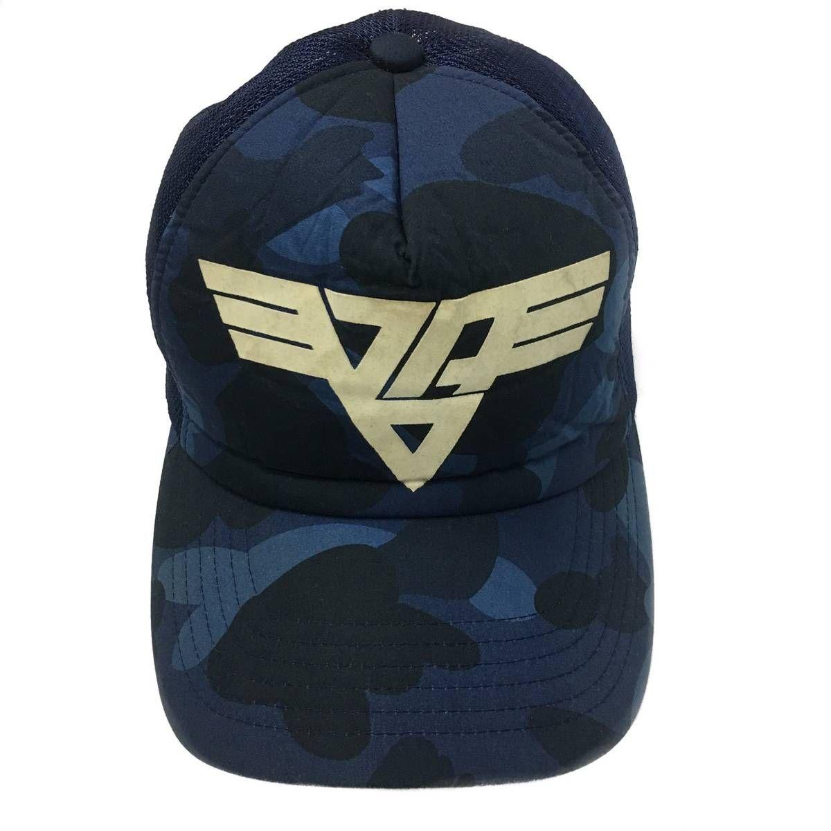 Bape BAPE A Bathing Ape Navy Blue Camouflage Trucker Hat Cap 100% Authentic  Size one size - Hats for Sale - Grailed 99942f542