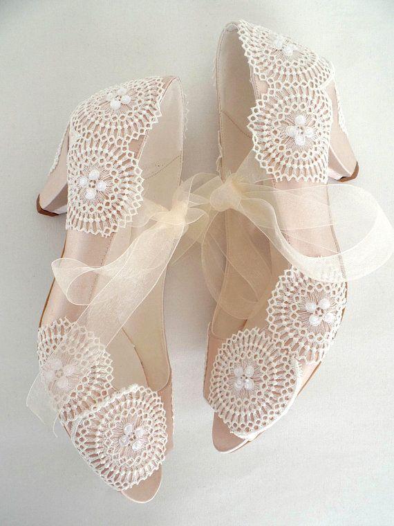 c2d850857c Wedding Shoes Champagne Satin Embellished Ivory Lace Boho