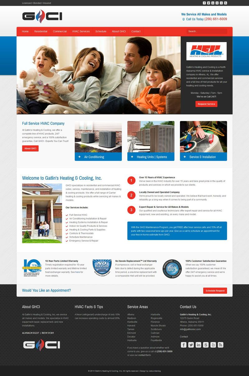 Web Design For Gatlin S Heating Amp Cooling Inc In Athens Alabama Built With Joomla 3 Cms Using Bootstrap Res Hvac Company Commercial Hvac Web Design