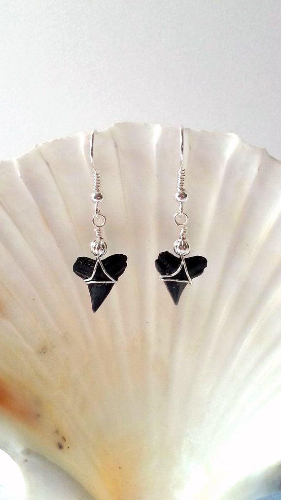 Silver beaded shark tooth earrings wire wrapped by beachseacrafts ...