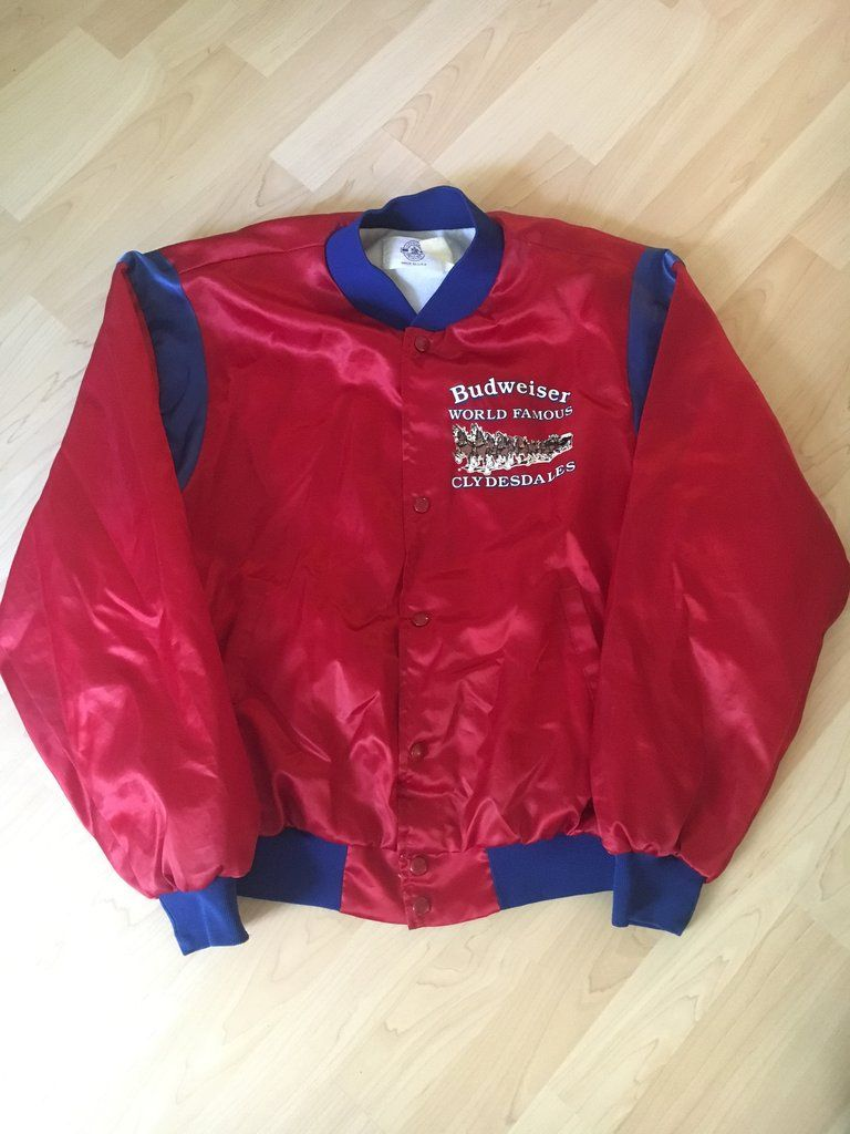 2fc14cb897 Vintage 90s Budweiser Clydesdales Lightweight Satin Varsity Style ...