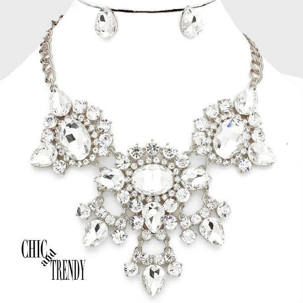 HIGH END CLEAR CHUNKY CRYSTAL PROM WEDDING FORMAL NECKLACE JEWELRY SET TRENDY #Unbranded
