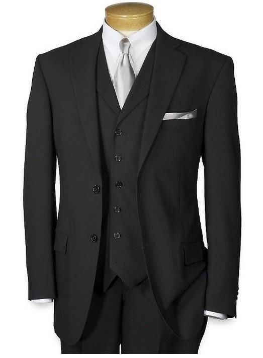 Black Men Suits Formal 3 Piece Wedding Groom Groomsmen