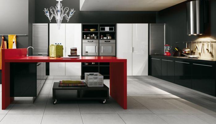 wandfarbe küche dunkle wände roter küchentisch leuchter helle - wandfarbe fr kche