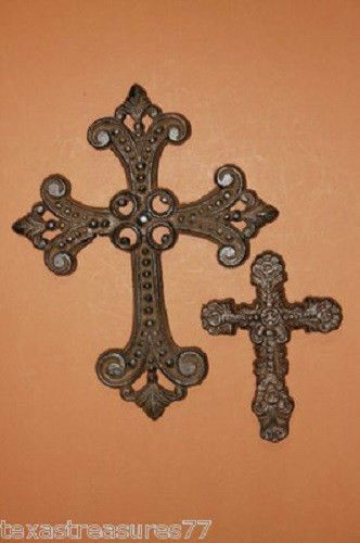 SET OF (2) CROSSES, CAST IRON,FLEUR DE LIS, FLOWER, CHRISTIAN,#7, #8