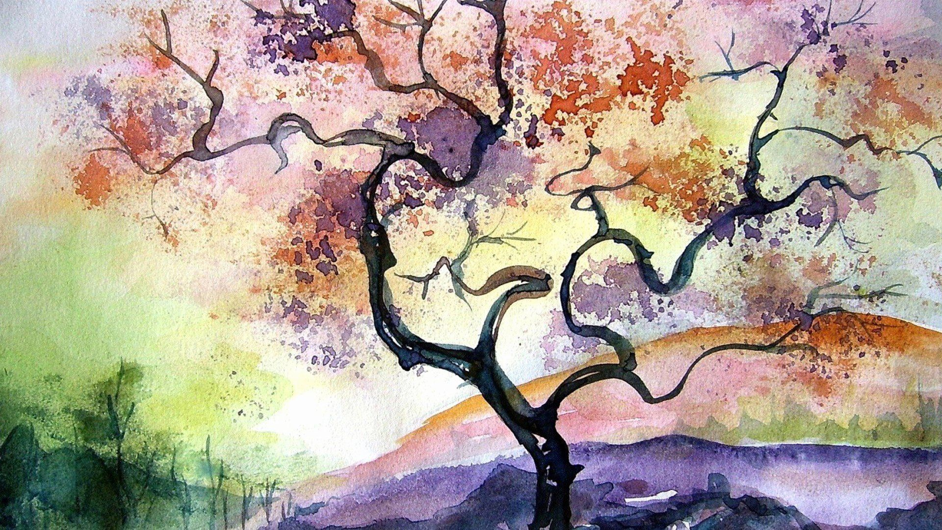 How To Color Anime Using Watercolor In 2020 Tree Watercolor