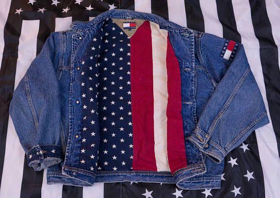 Tommy Flag Size Hilfiger Vintage USA Jeans Denim 90s XL Jacket gzwzqT1n5