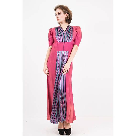 1930s Dressing gown / 1940 rayon and satin zip front robe / | New in ...