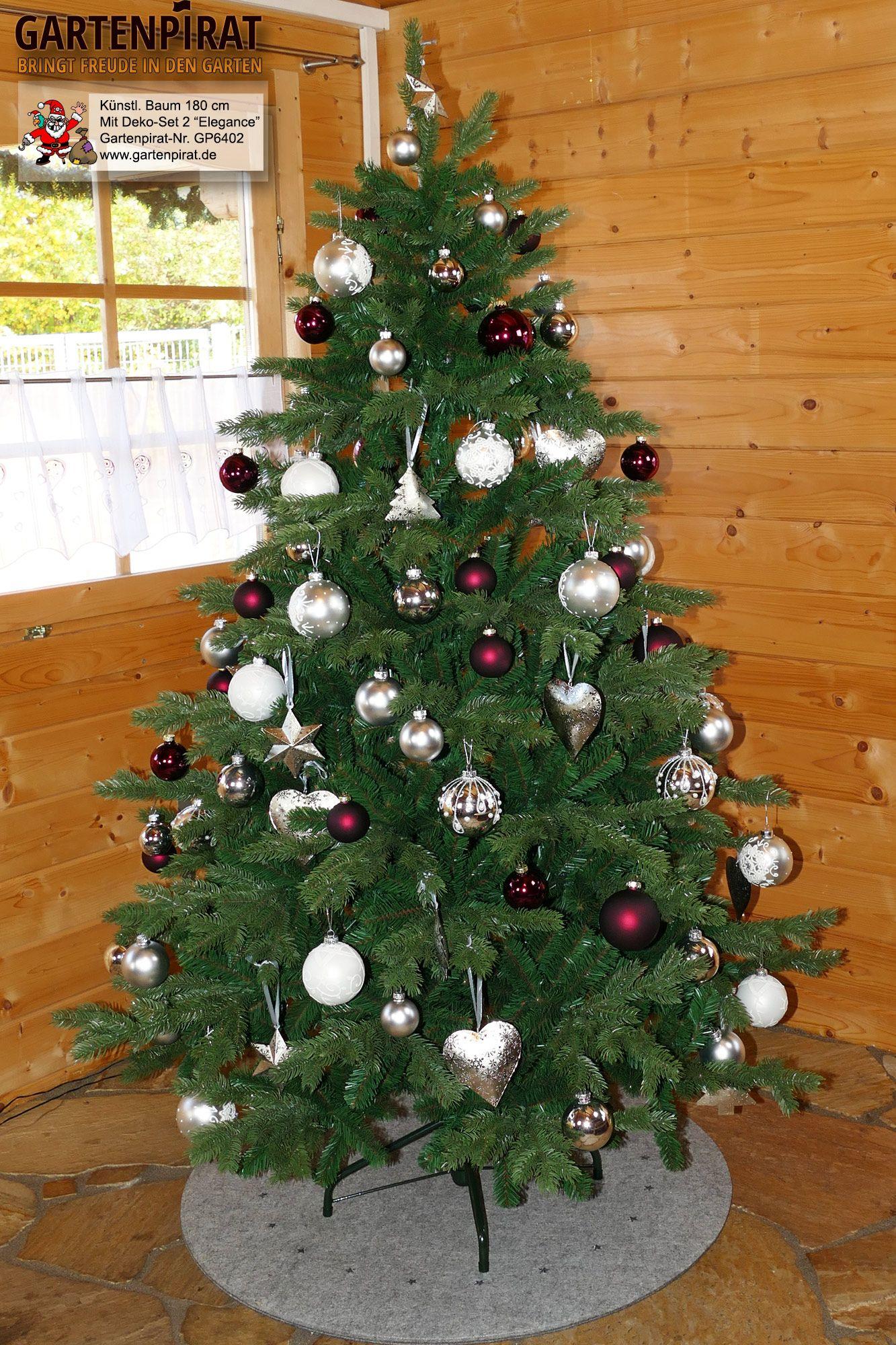 #christbaumschmuck Set mit #christbaumkugeln  Modell 2: Elegance  #Weihnachtsbaum künstlich 180 cm mit #Baumdeko-Set #2 Elegance-Style. Der weihnachtsbaumschmuck ist als Komplett-Set im Gartenpirat-Shop für Weihnachtsdekoration und Weihnachtsbeleuchtung erhältlich.  Den passenden künstlichen Weihnachtsbaum 180 cm haben wir in 4 Nadelarten  #deko #idee #weihnachten2018 #weihnachtsdekoimglasmitkugeln